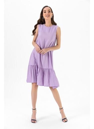 Tiffany&Tomato Etek Ucu Fırfırlı Keten Uzun Elbise Lila